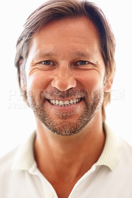 Buy stock photo Closeup portrait of a smart man smiling isolated against white background