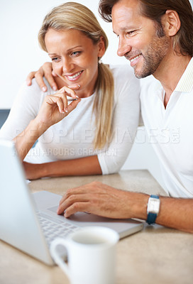 Buy stock photo Portrait of a happy mature man and woman working on a laptop together