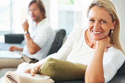 Buy stock photo Closeup portrait of a pretty mature woman with man in the background