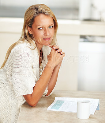 Buy stock photo Portrait of a thoughtful attractive mature woman thinking over something