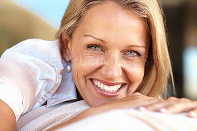 Buy stock photo Closeup portrait of a beautiful happy mature woman smiling