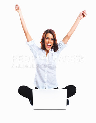 Buy stock photo WooHoo!!! I won! - Happy isolated girl sitting with a laptop against white background