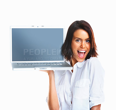 Buy stock photo Excited female executive displaying laptop with blank screen to add your text