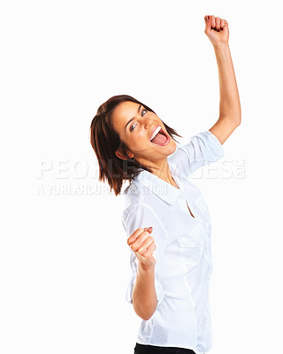 Buy stock photo Success woman screaming of joy isolated on white background