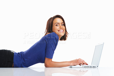 Buy stock photo Beautiful smiley woman using laptop on the floor - isolated over white background