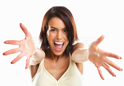 Buy stock photo Portrait of excited young woman pointing with both hands towards the camera on white background