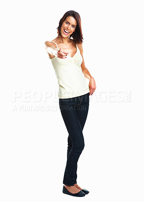 Buy stock photo Charming young girl points finger at you isolated on white background