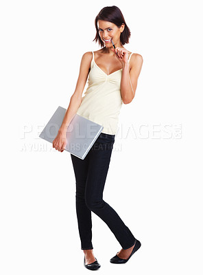 Buy stock photo Full length shot of an attractive student carrying a laptop isolated on white background