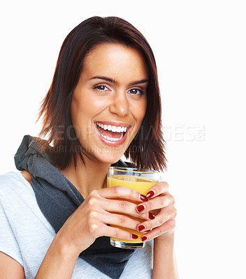 Buy stock photo Young happy fit mixed race woman drinking orange juice isolated on white background
