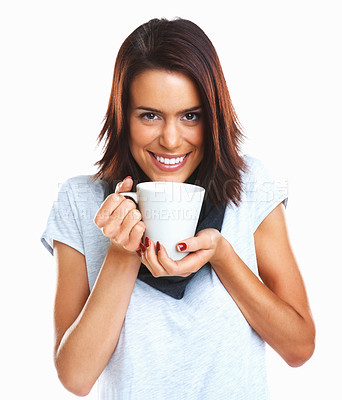 Buy stock photo Beautiful adult woman smiling and holding a cup of coffee against white background