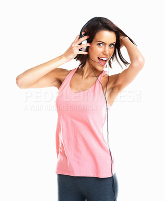 Buy stock photo Young woman listening to music and singing isolated on white background