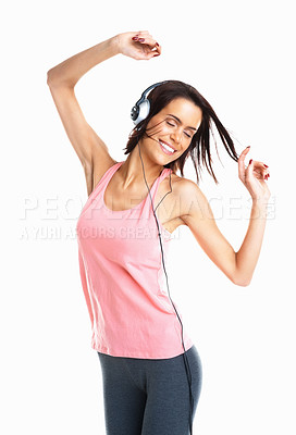 Buy stock photo Cool teenager listening to music and dancing isolated on white background