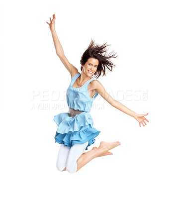 Buy stock photo Portrait of a beautiful young lady jumping in joy over white background