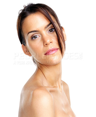 Buy stock photo Portrait of a sexy young woman posing against white background