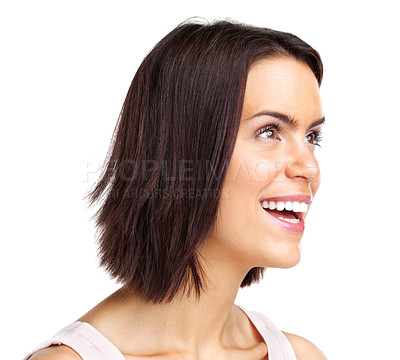 Buy stock photo Closeup portrait of a charming young female looking at copyspace against white background
