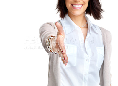 Buy stock photo Portrait of a happy young bussinesswoman offering a handshake over white background