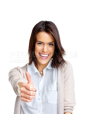 Buy stock photo Portrait of a happy young woman with thumbs up sign against white background