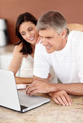 Buy stock photo Portrait of happy mature couple using a laptop computer