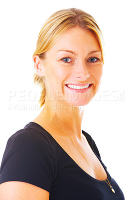 Buy stock photo Portrait of a beautiful young blonde model, taken in our studio.