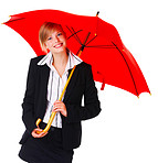 Business woman with umbrella