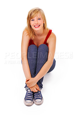 Buy stock photo Young woman sitting down. Isolate on white background