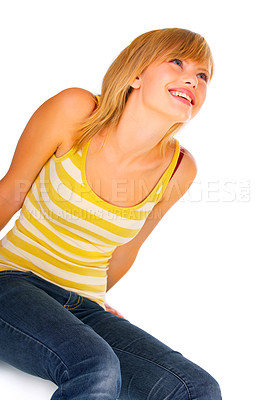 Buy stock photo Portrait of a beautiful Isolated young woman taken in our studio.