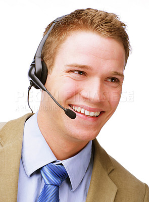 Buy stock photo Isolated portrait of a young enthusiastic customer service representative.