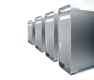 Buy stock photo Isolated lineup of workstations next to each other.
