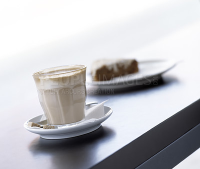 Buy stock photo Close-up of a wonderful caffe latte served the Italian way in a glass and not in a cup.