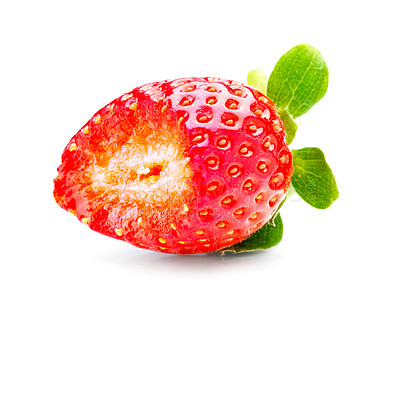 Buy stock photo Isolated fruits - Strawberries with a bite taken of it,  on white background. This picture is part of the series