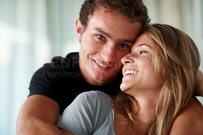 Buy stock photo Closeup portrait of a cute young couple enjoying themselves