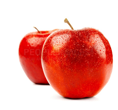 Buy stock photo Shoot of a pair of crisp shiny red apples beaded with dew, isolated on white