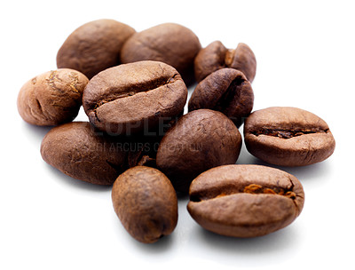 Buy stock photo Isolated macro shot of coffee beans