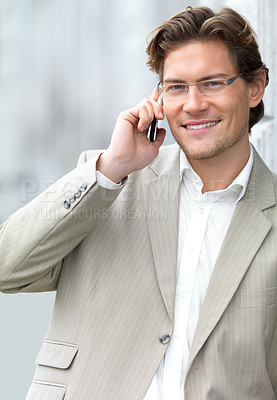 Buy stock photo Portrait of a cheerful businessman using mobile phone