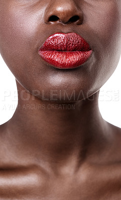 Buy stock photo Closeup cropped shot of a woman wearing bright red lipstick