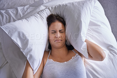 Buy stock photo Cropped shot of a young woman struggling to wake up