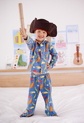 Buy stock photo Shot of a young boy playing make believe as a pirate