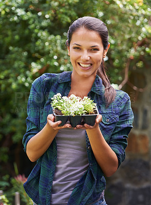 Buy stock photo Portrait of an attractive young woman holding a punnet of seedlings