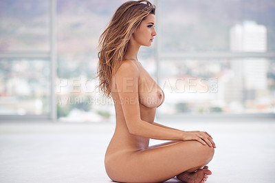Buy stock photo Shot of a beautiful young woman posing naked