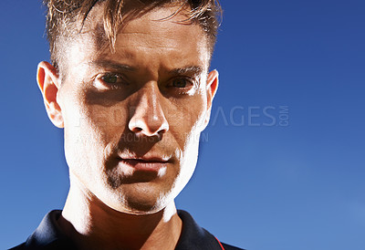 Buy stock photo Portrait of a handsome young footballer
