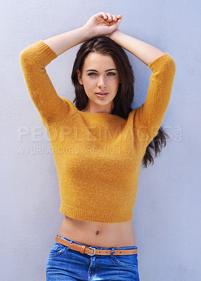 Buy stock photo Portrait of a gorgeous young woman posing confidently