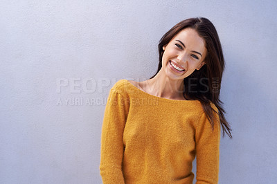 Buy stock photo Portrait of a cheerful and beautiful young woman