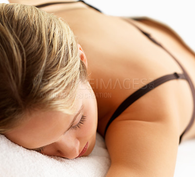 Buy stock photo Close-up portrait of a young beautiful woman sleeping on bed