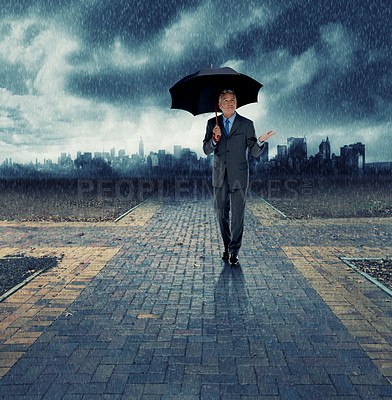 Buy stock photo Composite shot of a well-dressed businessman standing at a crossroads holding an upbrella - ALL design on this image is created from scratch by Yuri Arcurs' team of professionals for this particular photo shoot