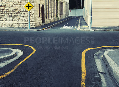 Buy stock photo Cropped shot of a four-way intersection