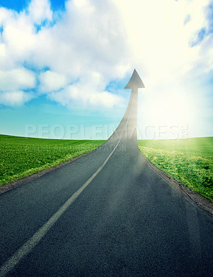 Buy stock photo CGI shot of a road turning into an arrow pointing up to the sky