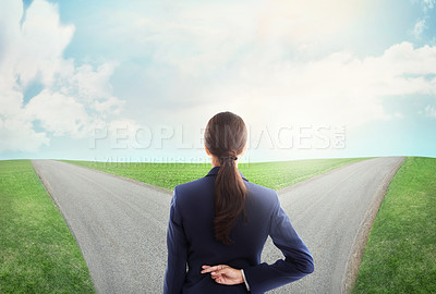 Buy stock photo Concept shot of a young businesswoman at a crossroads crossing her fingers