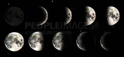 Buy stock photo Varying shots of the different phases of the moon- ALL design on this image is created from scratch by Yuri Arcurs'  team of professionals for this particular photo shoot