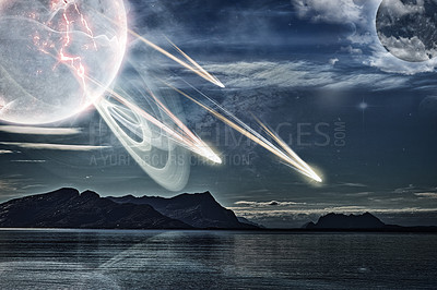 Buy stock photo Tranquil seascape in Norway with a ghostly planet flinging objects onto the earth's surface