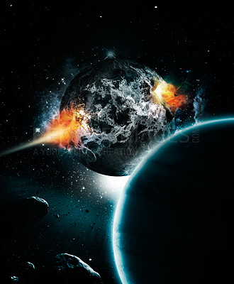 Buy stock photo Apocalyptic shot of a dark planet about to explode